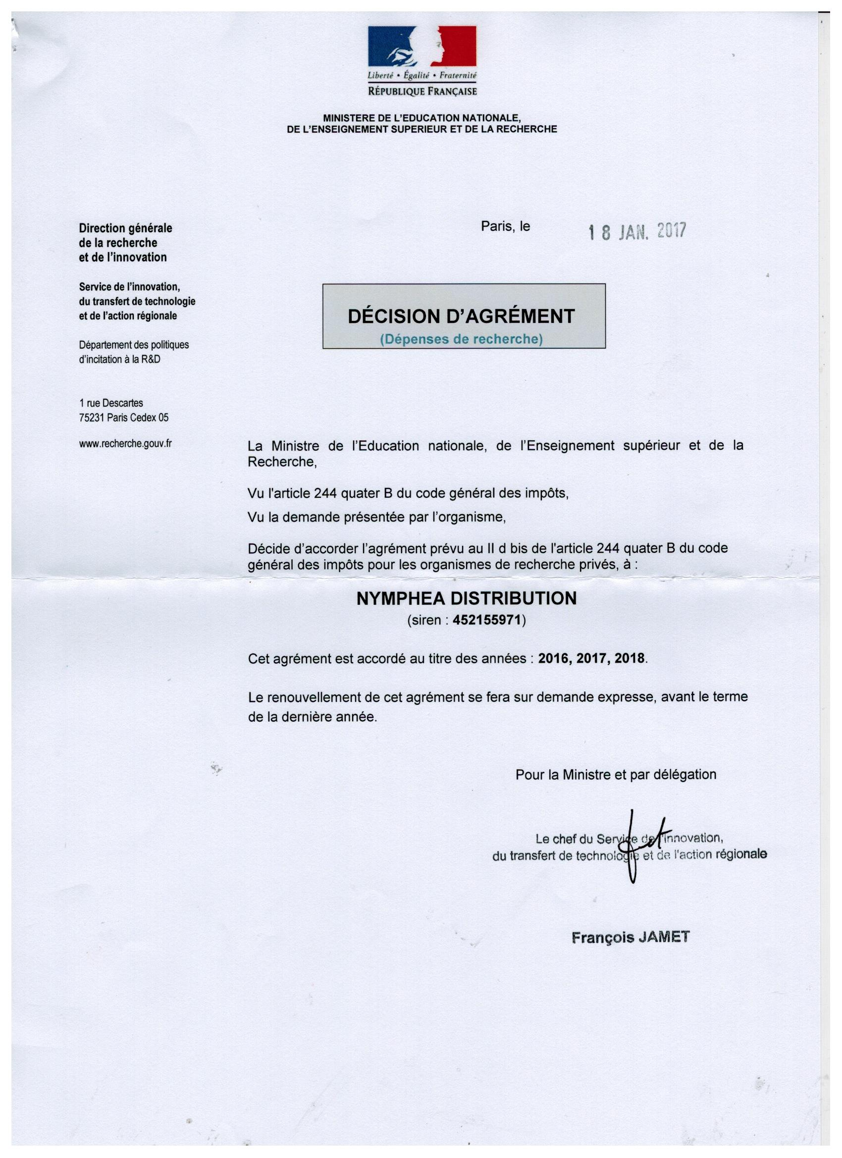 Décision de l'agrément du Ministère de Recherche